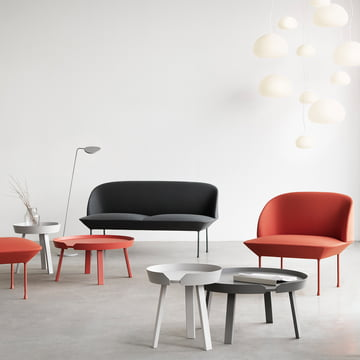 The diversity of the around couch table, Oslo sofas and the light pull from muuto