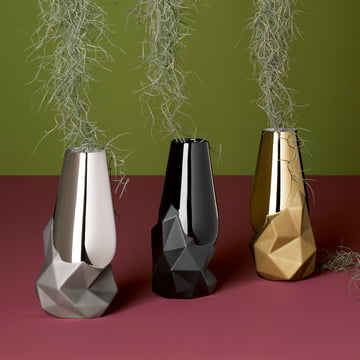 Geode vases by Rosenthal in platinum, gold, and black