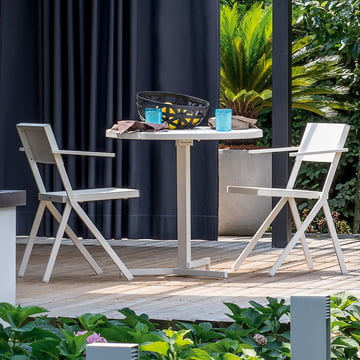 The Mia Armchair and Round Table by Emu in White