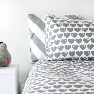 Reversible Bed Linen Hearts 135 x 200 cm From byGraziela With Grey Hearts on White