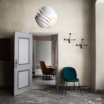 Matégot Coat Rack by Gubi with Turbo Pendant Lamp and Beetle Dining Chair