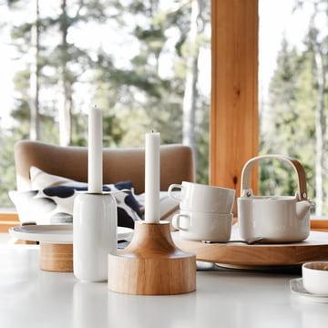 Stamp Candleholder, Basket Mug and Oiva Kanta Plate / Cake Plate by Marimekko