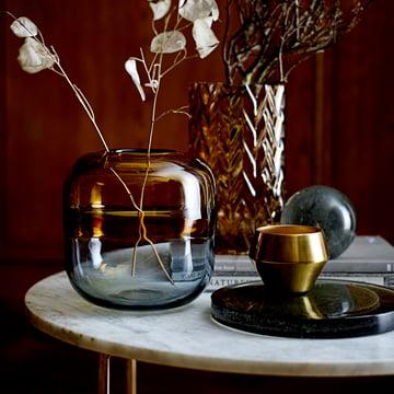 Bloomingville - Glass Vase H 16,5 cm, brown