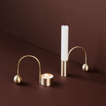 The tealight holder Balance by ferm living in brass