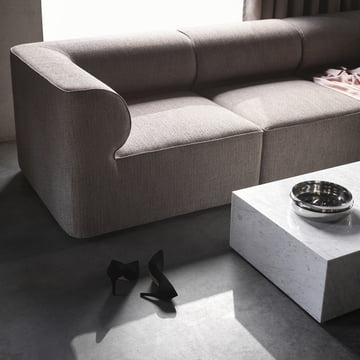 The Menu - Eave Modular Sofa in Light Grey with the Coffee Table