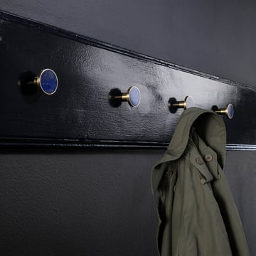 The ferm Living - Wall Hooks in Stone, Brass / Blue Lapis Lazuli Combined
