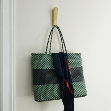 The Skagerak - Reflect Wall Hook Double in Oak / Brass with Bag.