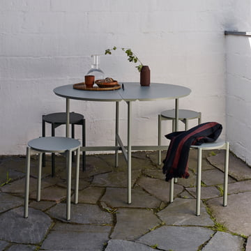 The Skaterak - Picnic Table and Picnic Stool in Slate Grey on the Terrace.