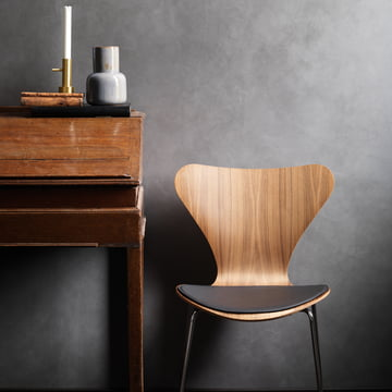 The Fritz Hansen - Leather Seat Cushion Placed on the Chair