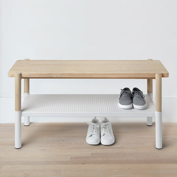The Umbra - Promenade Bench, White / Natural with Shoes