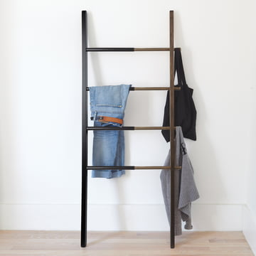 The Umbra - Hub Ladder Rack in Black / Walnut with Clothes