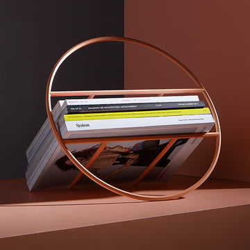 The Umbra - Hoop Magazine Rack, Copper Finish with Magazines