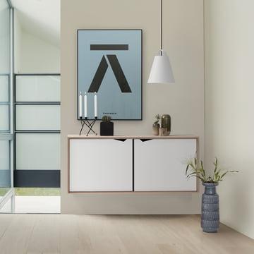 Andersen Furniture - S2 Hanging Module with 2 Doors, Soaped Oak / White Laminate
