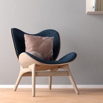 Vita - A conversation Piece Armchair, natural oak- slate grey with Need a Hug cushion
