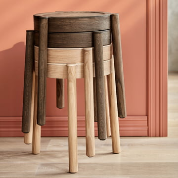 Northern - Pal Stacking Stool, cane mesh / smoked oak