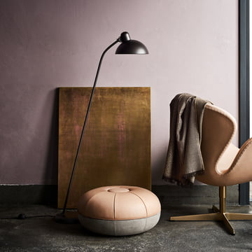 The Fritz Hansen - KAISER idell - Floor Lamp, the Swan Chair and the Cecilie Pouf