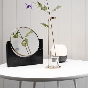 Glow Hurricane Lantern, Stem Vase and Pepe Marble Mirror by Menu