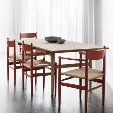 The Carl Hansen - CH36 Dining Table with CH327 Dining Table