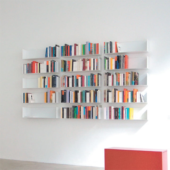 linea1 a book and DVD shelves form a book wall