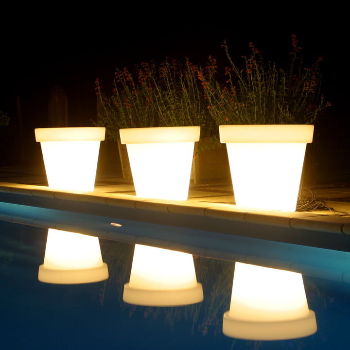 Bloom Pot with light in white