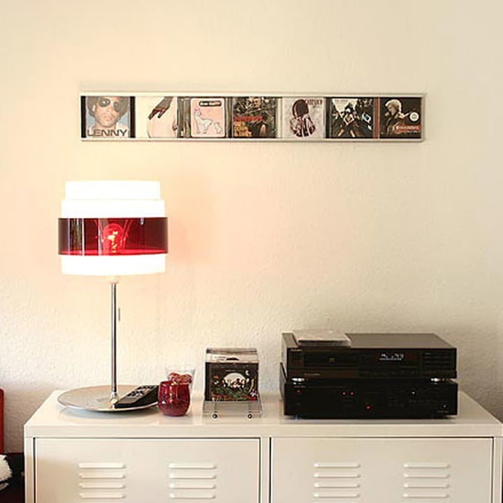 Artful presentation of CDs with the Sigmarail Aluminium CD shelving system