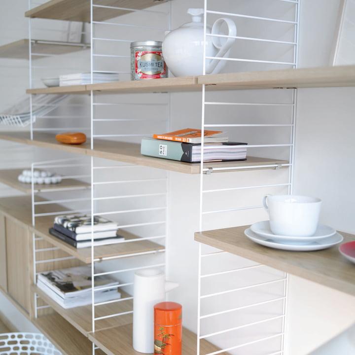 String Shelf System, white/ oak