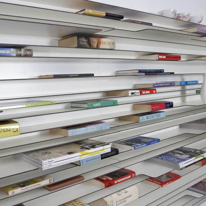 The Paperback shelving system presents the colourful book spines