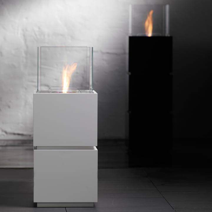 Safretti - Cube W1/B1 Fireplace - Black and White