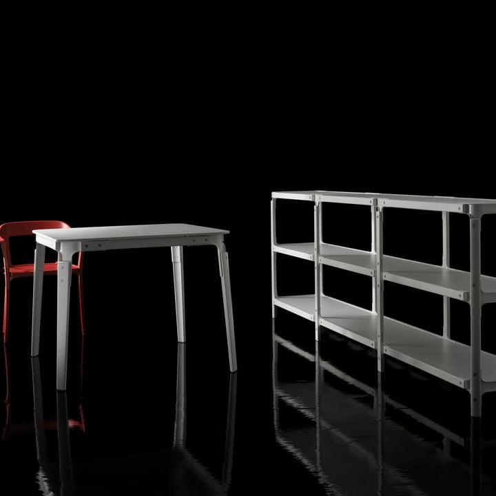 Magis - Steelwood shelving system white/white - on black