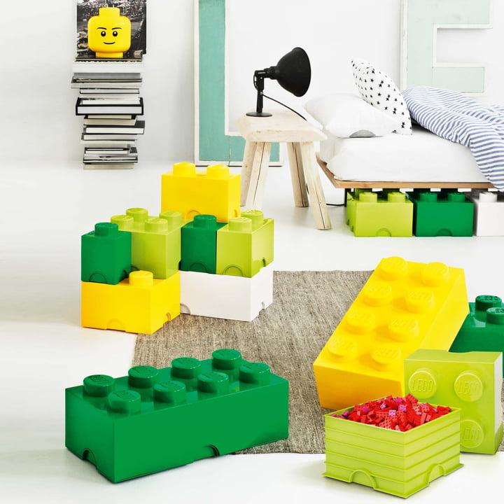 Lego - storage box, green, yellow