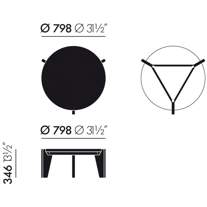 Vitra - Guéridon Bas coffee table, measurements