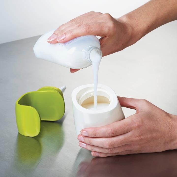 Joseph Joseph - C-pump soap dispenser, white/ green - filling