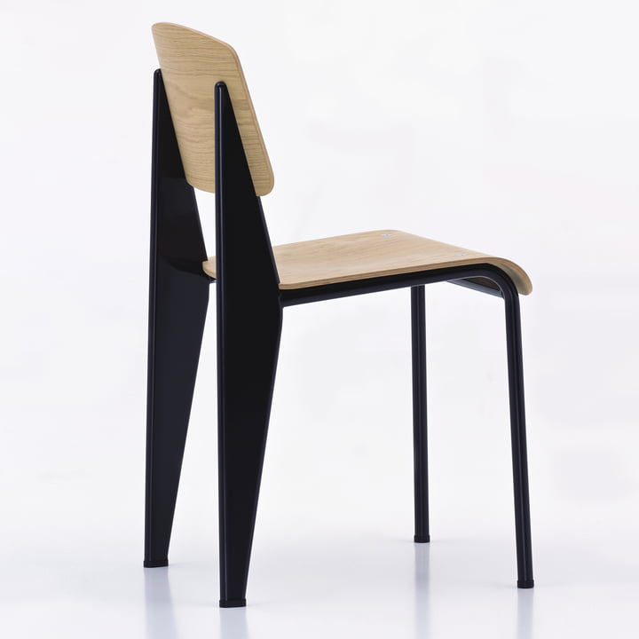 Vitra - Standard Chair, bright oak wood, black - back