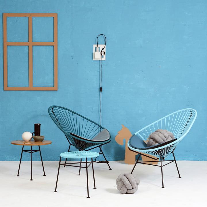 OK Design - The Acapulco Chair, petroleum blue, light blue
