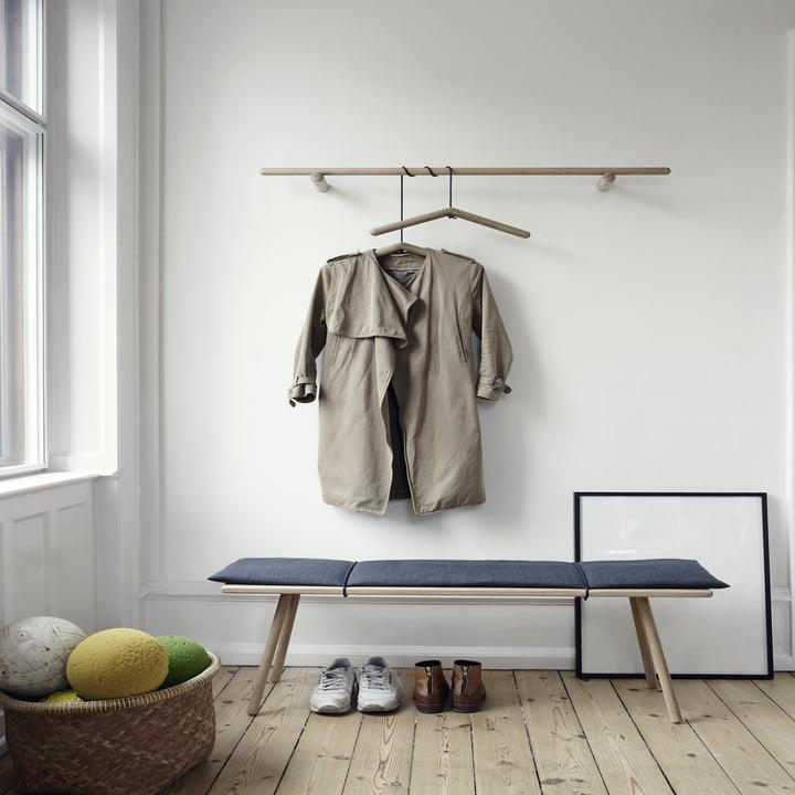 Skagerak - Georg bench, coat rack, clothes hangers, oak wood
