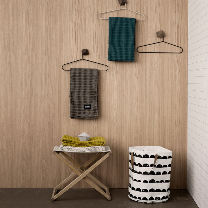 Organic bath towels and Half Moon laundry basket by ferm Living