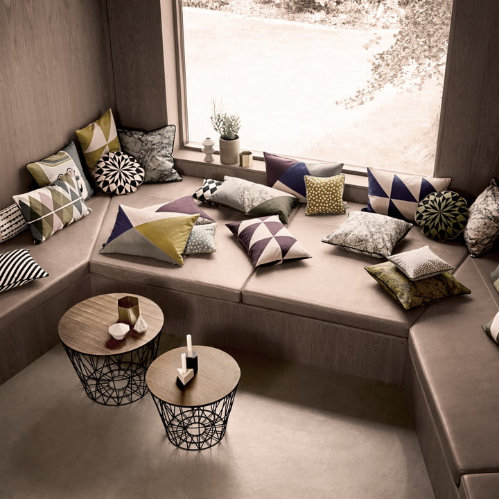 Cushion and side tables by ferm Living