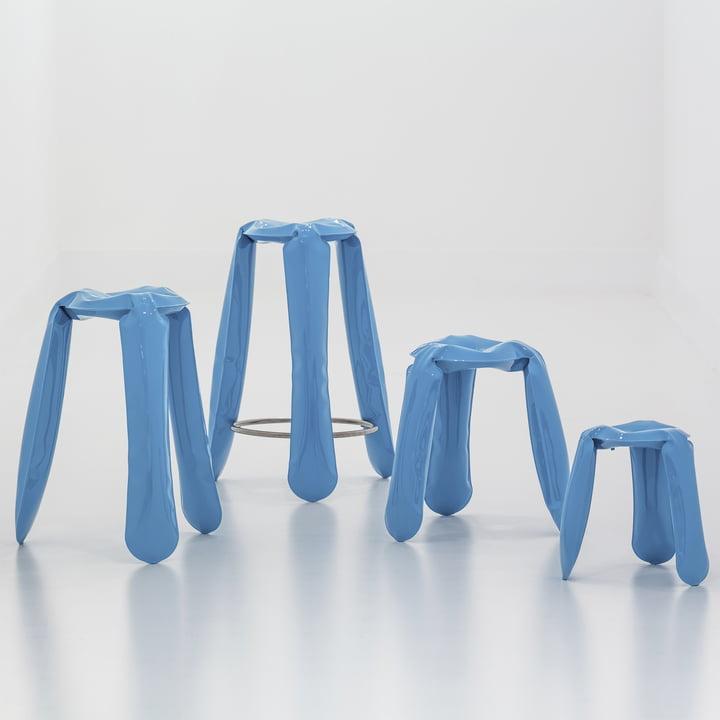 The Plopp stool family in blue