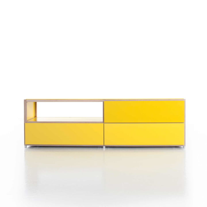 Flötotto - ADD Lowboard, 3 drawers, yellow - example
