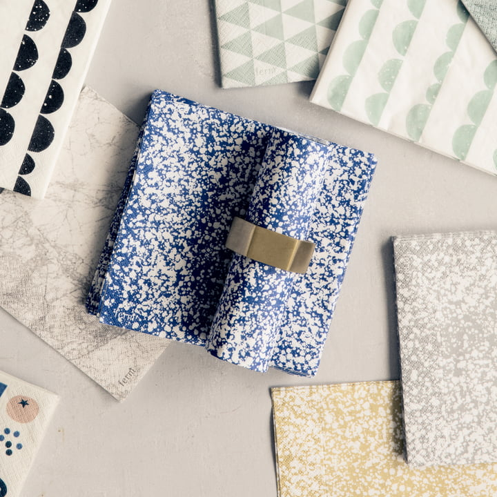 Splash Paper Napkin with the Hexagon Napkin Ring by ferm Living
