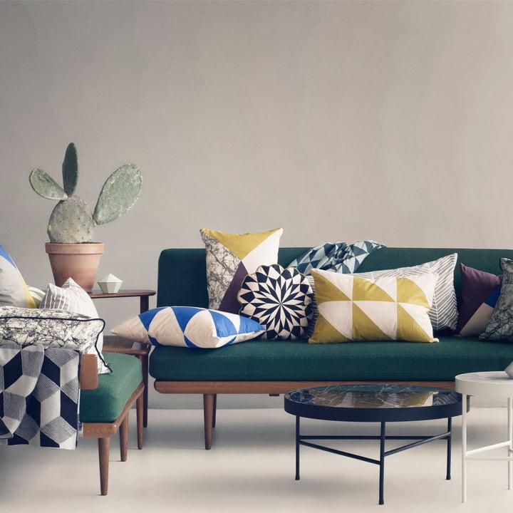 Striped Cushion and Herringbone Cushion by ferm Living