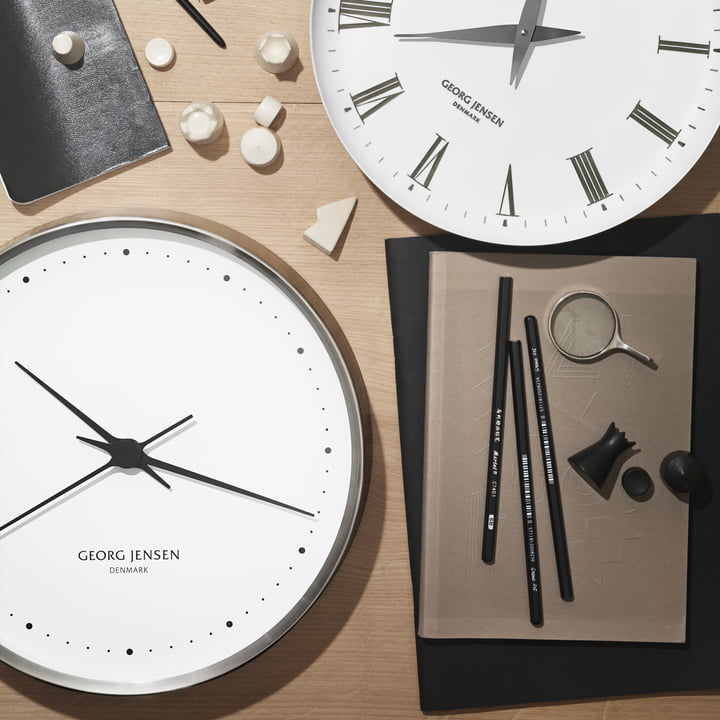 Georg Jensen - Henning Koppel Wall Clock Ø 30 cm, stainless steel / white