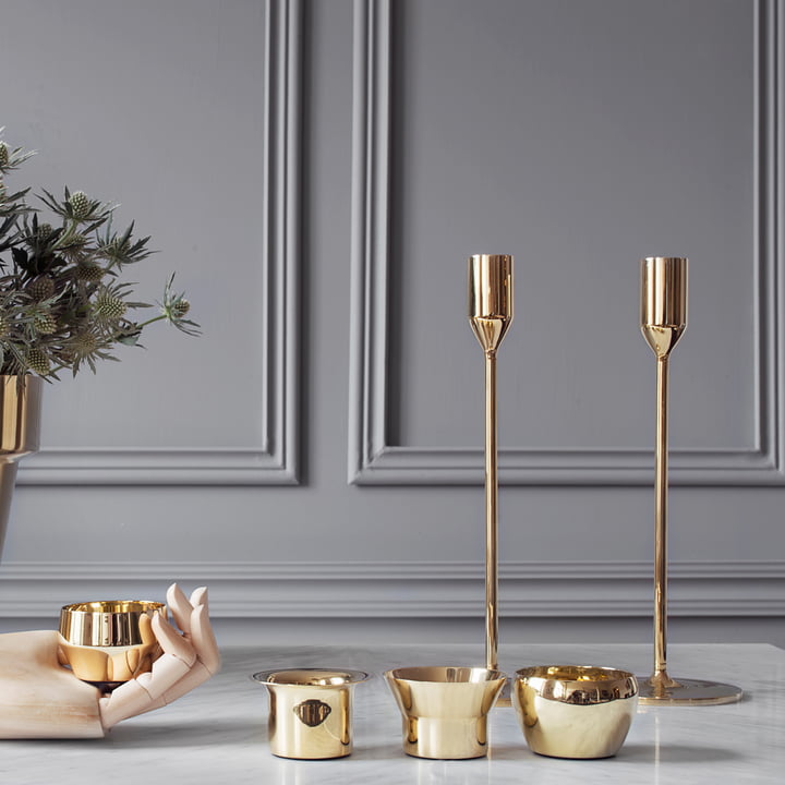 Skultuna - Candleholder and Tea Light Holder brass, ambience
