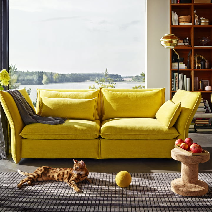 Vitra - Cork Family, in front of yellow sofa