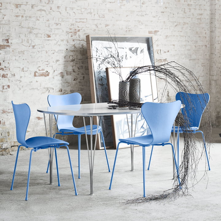 The Fritz Hansen Series 7 Chair, Trieste Blue