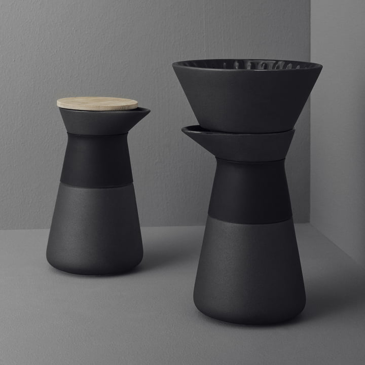 The Theo coffee filter carafe with elegant slow-brew system by Stelton