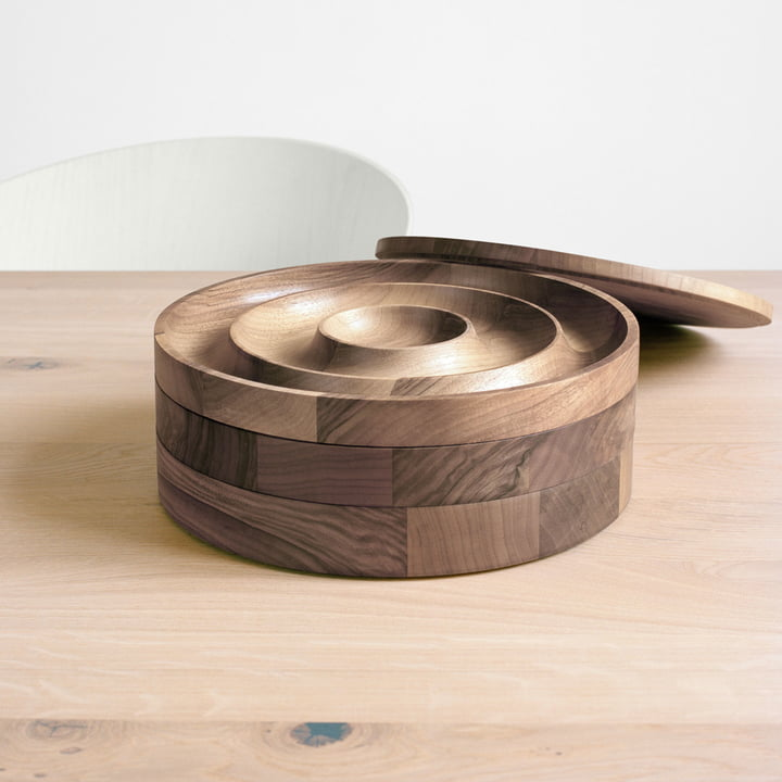Jewellery container made of oiled walnut.