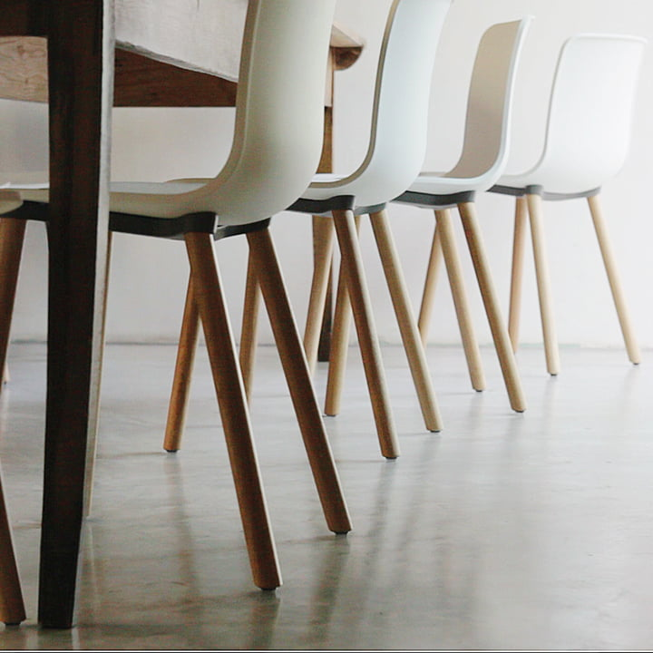 Hal Wood Chair by Vitra in light oak with white seat shell