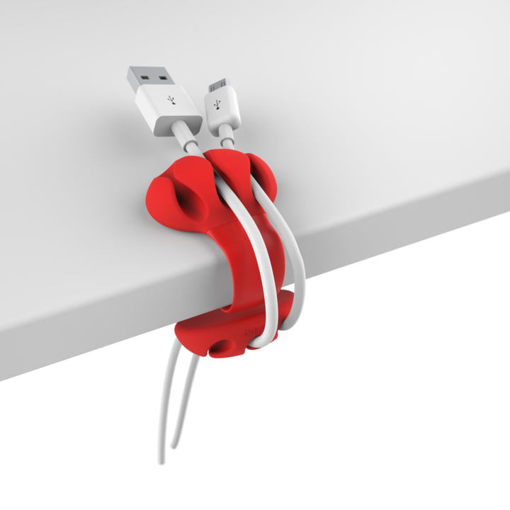 Desk cable holder by Bobino in red