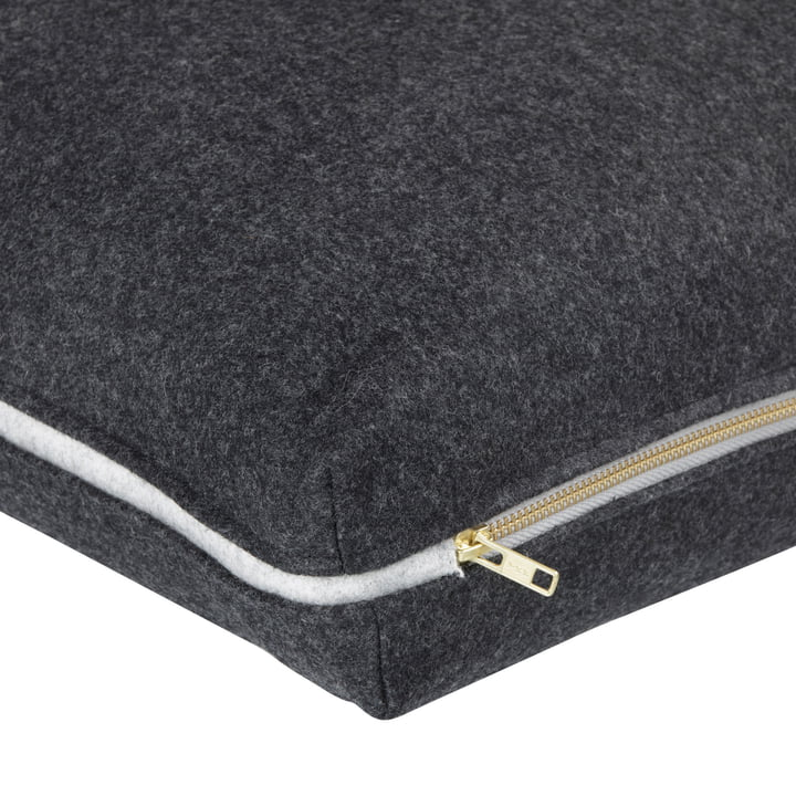Wool cushion 60 x 40 cm by ferm Living in dark grey